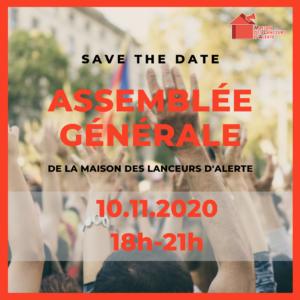 [SAVE THE DATE] Assemblée Générale de la Maison des Lanceurs d'Alerte