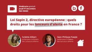 Webinaire • Loi Sapin 2, directive européenne… : quels droits pour les lanceurs d'alerte en France ?